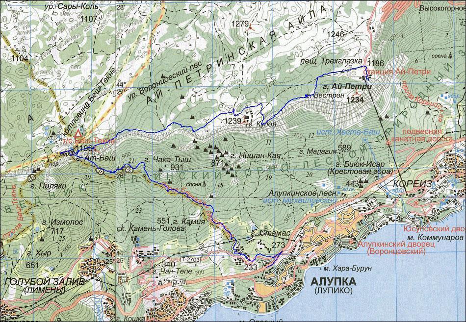 Где находится Ай-Петри на карте Крыма