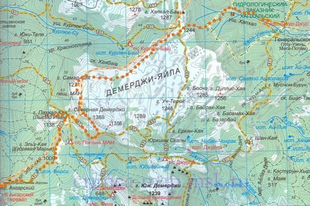 Туристическая карта Крыма с маршрутами